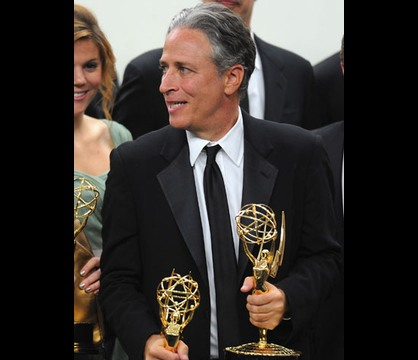 The Primetime Emmy Awards 2011 - Double Wh-emmy. Jon Stewart clutches both Daily Show awards