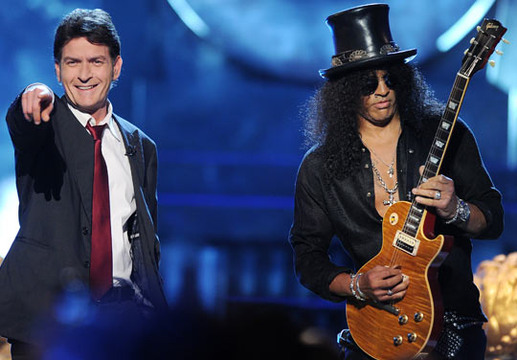 Comedy Central Roast of Charlie Sheen - Charlie Sheen and guitarist Slash at The Comedy Central Sheen Roast
