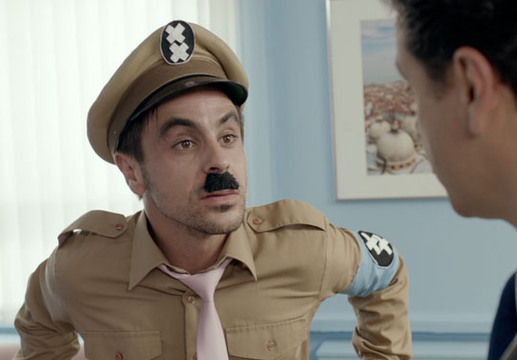 Threesome - Episode 7 - Richie dressed as Charlie Chaplin (Hitler) meets Dr Goldstein. Take the tache of Richie...