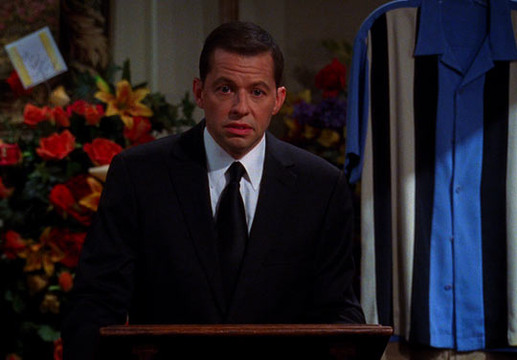 Charlie Harper's funeral in Two and a Half Men - Alan tries to pay his respects to his late brother